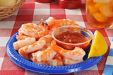 Shrimp prawns on a picnic table
