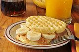 Peanut butter banana sandwich on a waffle