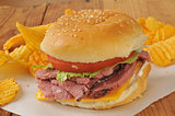 roast beef sandwich on a hamburger bun