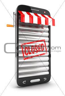 3d closed supermarket smartphone