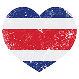 Costa Rica retro heart shaped flag
