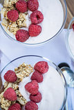 Fresh raspberries and yoghurt breakfast