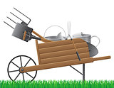 wooden old retro garden wheelbarrow with tool vector illustratio