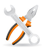tools spanner and pliers icons vector illustration