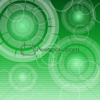 Abstract technology on green background