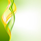 Abstract yellow green wave background