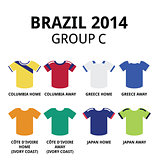 World Cup Brazil 2014 - group C teams football jerseys