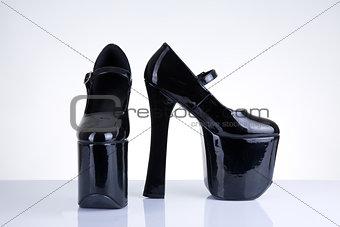 Black platform high heel shoes