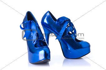 Pair of elegant blue female shoes