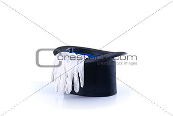 Black magician top hat with a pair of white gloves