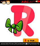 letter r with ribbon cartoon illustration