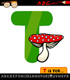 letter t with toadstool cartoon illustration