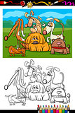 cute dogs cartoon coloring book