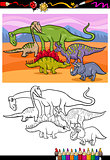 dinosaurs group cartoon coloring book