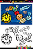 solar system cartoon coloring book