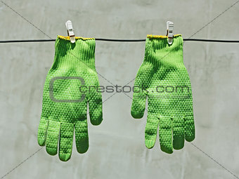 Green gloves hanging on a wire in the sunlight