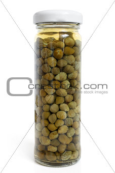 Capers canned in glass jar