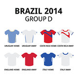 World Cup Brazil 2014 - group D teams football jerseys