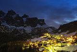 Colfosco in Badia, night landscape