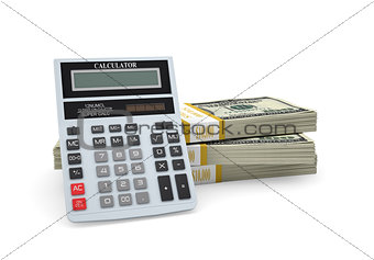 Calculator stand on pack of dollars