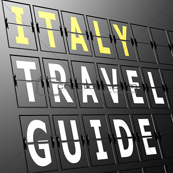 Airport display Italy travel guide