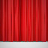Closed red curtain lit Spotlight
