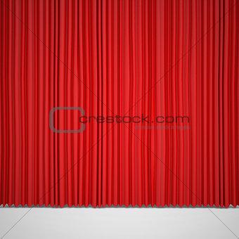Closed red curtain lit Spotlight