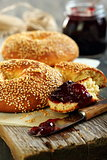 Homemade bagel with jam.