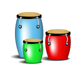 Multicoloured congas music band