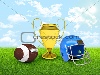 Football ball, gold cup and helmet in the of field