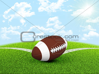 Football ball in the corner of field