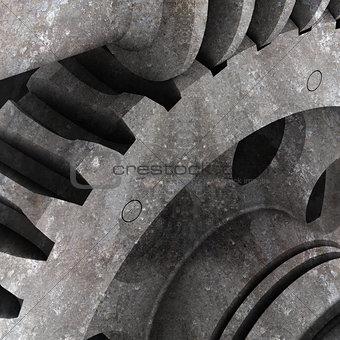 Old gears. Dark grunge background