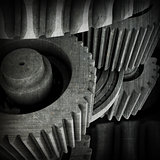 Old gears. Dark grunge background