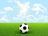 Soccer ball in the middle of field
