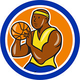 African-American Basketball Player Shooting Cartoon Circle