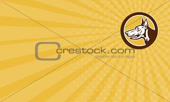 Business Card Doberman Pinscher Head Circle Retro
