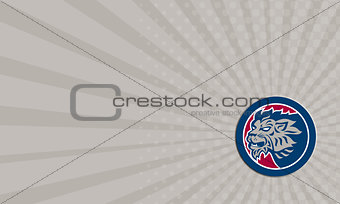 Business Card Lion Head Side Retro Circle