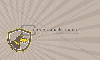 Business Card Doberman Pinscher Head Shield Retro