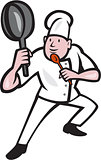 Chef Cook Holding Frying Pan Kung Fu Stance Cartoon