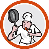 Chef Cook Holding Frying Pan Fighting Stance Cartoon