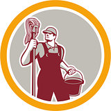 Janitor Holding Mop and Bucket Circle Retro
