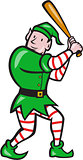 Elf Baseball Player Batting Isolated Full Cartoon