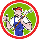 Gardener Farmer Holding Rake Thumbs Up Cartoon