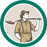 Prospector Miner With Shovel Circle Retro