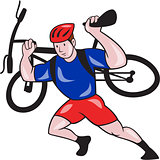 Cyclist Carry Mountain Bike on Shoulders Cartoon