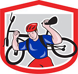 Cyclist Carrying Mountain Bike on Shoulders Cartoon