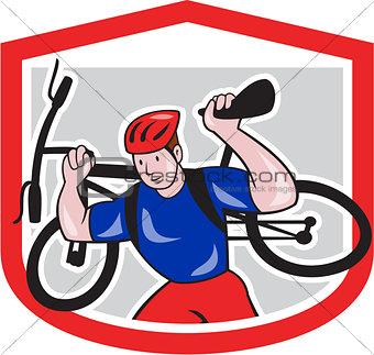 Cyclist Carrying Mountain Bike on Shoulders Cartoon
