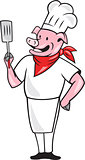 Pig Chef Cook Holding Spatula Cartoon