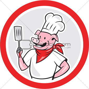 Pig Chef Cook Holding Spatula Circle Cartoon