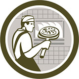 Pizza Maker Holding Peel Side Retro Circle